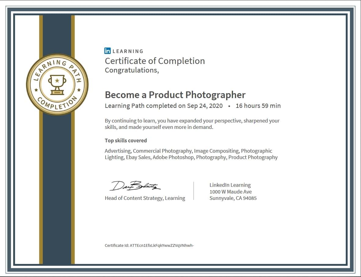 """Meine Abschlussbescheinigung für den Kurs """"Become a Product Photographer"""""""
