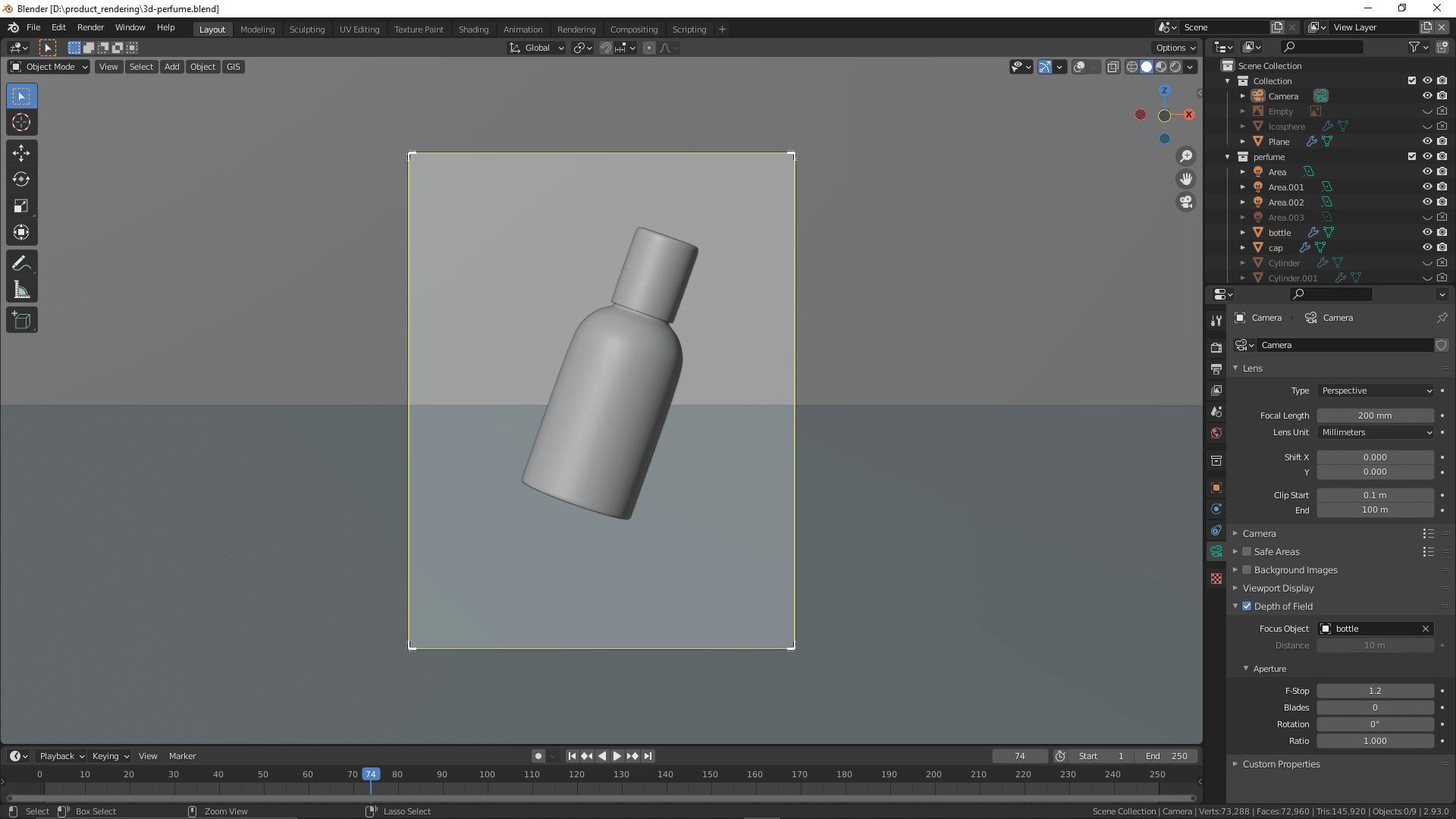 Parfümflasche in 3D